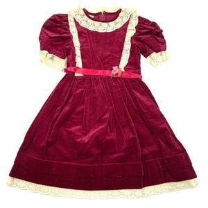 Dorissa of Miami Vintage Girls Burgundy Dress 6